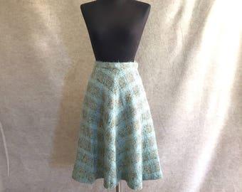 Vintage Wool Skirt, Plaid A-Line Skirt, 1950's Light Blue Light Green Pastel, Full Skirt, Waist 26, Size Small, SALE