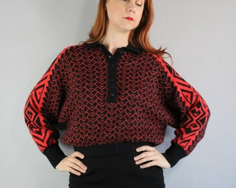 Vintage 80s 1980s Women's Red Black Navajo Tribal Design Cropped Batwing Fall Winter Southwest Sweater