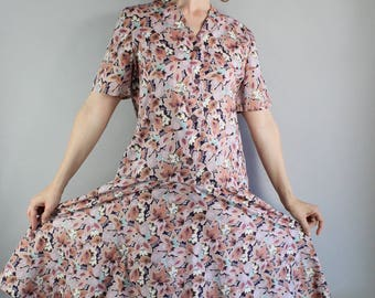 Summer Dress, 90s does 20s 30s Art Deco Floral Print Cotton Dress, Drop Waist, Wedding Guest Dress, Casual Dress, Large, FREE SHIPPING