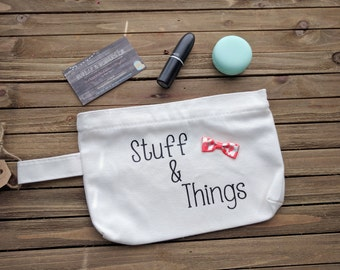Embellished Canvas Makeup Bag | Stuff & Things | Zippered Makeup Bag | Travel Bag