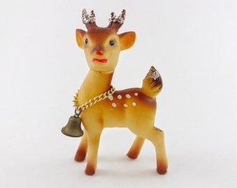 Vintage Christmas Reindeer Figurine, Vintage Rudolph Figurine, Mid Century Rubber Christmas Deer with Glitter Antlers and Tiny Bell Collar