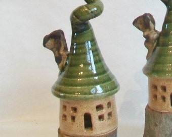 Garden Fairy House,  Garden Decoration, Speckled Stoneware with a Corkscrew Roof and Chimney, Handmade on Potters Wheel, Ready to Ship