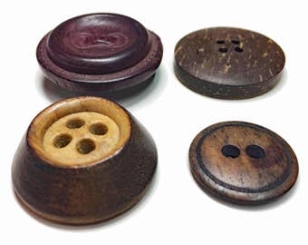 Vintage Select Wood Buttons  Collection - Old Rustic Buttons - Handmade Wood Buttons - Rustic Fashion - Walnut Coconut Buttons - B85