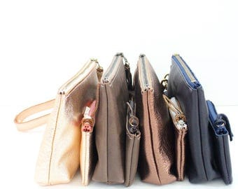 Leather Zipper Pouch & Coin Case Set