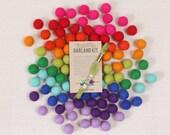 Felt Pom-Poms // Bright Side // Rainbow Garland Kit, Trolls Color Palette, DIY Garland, Rainbow Crafts, Bright Felt Balls, Wool Felt Beads
