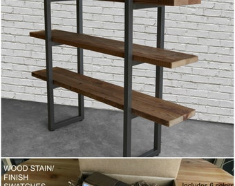 Urban Plank Wood Shelving/Storage/Bookcase with steel supports.  Buy a Finish/stain sample kit here.  Custom orders turnaround 4-5 weeks.