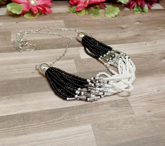Black & White Strand Bead Necklace - Statement Necklace