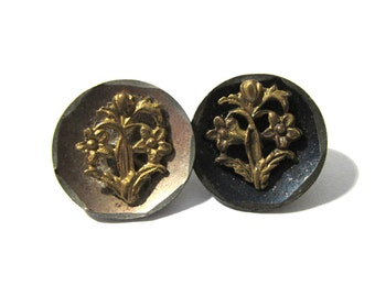 Victorian Buttons Flowers Two (2) VINTAGE Antique Victorian Buttons Escutcheon Tinted Buttons Vintage Jewelry Sewing Supplies (D138)