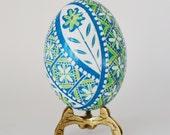 Turquoise Blue Pysanka batik egg on chicken egg shell Ukrainian Easter egg hand painted egg