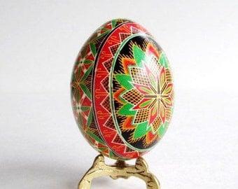Pysanka traditional design Ukrainian Easter egg batik decorated chicken egg shell