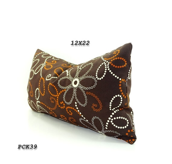 CLEARANCE SALE- Chocolate Brown Pillow , Long Bolster Pillow., Decorative Pillows, Floral Brown, Orange, and Cream Flowers Fall Decor