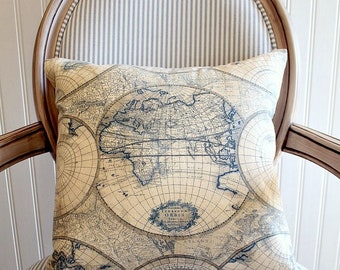World Map PIllow Cover - Blue and Tan Globe Pillow - Vintage Map Pillow - Travel Throw Pillow - Map Decor - Wanderlust