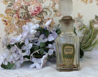 Vintage Perfume Bottle circa 1900 Cashmere Bouquet old label