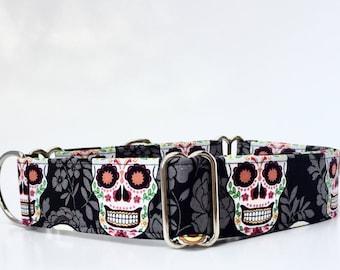 Martingale Dog Collar,,, Dia des Los Muertos,,, Sugar Skulls Martingale Dog Collar in 1.5 inch or 2 inch width