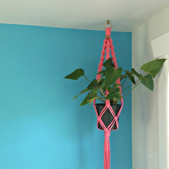 Macrame plant hanger. Modern macrame wall hanging. Plant holder. Pink t-shirt yarn. Ready to ship.