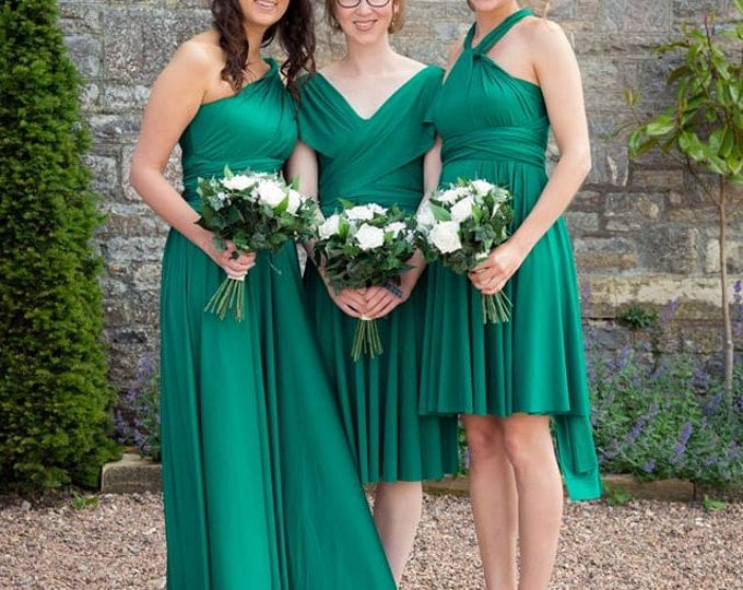 Cambria Pines Emerald- Short Circle Skirt Infinity Convertible Wrap Dress- Prom, Bridesmaids, plus size, maternity, birthstone, peridot