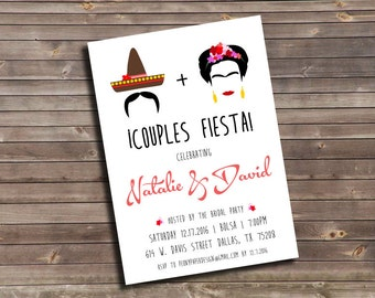 frida kahlo inspired couples shower custom printable invitation