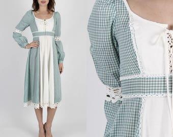Gunne Sax Dress Boho Dress Prairie Dress Jessica McClintock Vintage 70s Dress Boho Hippie Crochet Lace Gingham Dress Midi Mini Dress