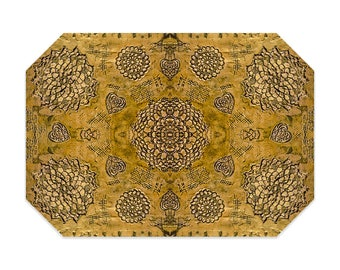 Bohemian placemat, gold placemat, boho, printed lace pattern, cloth placemat, washable polyester fabric placemat, table linens
