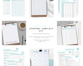 EVERYDAY COMPLETE Kit  - 70+ documents - aqua+black - standard and half size included- Instant Download