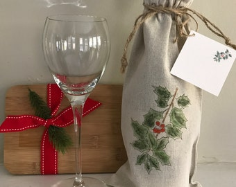 Holly Wine Bag, Gift Linen Bag, Bag With Gift Card, Holiday Wine Gift, Linen Bag With Card, Holiday Favor, Event Wine Gift,  Wedding Gift