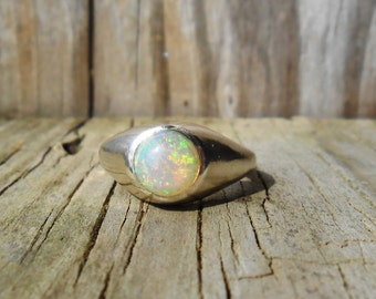 Opal Genuine Gemstone Sterling Silver Ring October Birthstone
