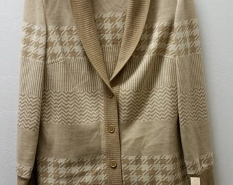 Vintage 70's R&K Knits Houndstooth Twinset, Size Medium Large,  #55679