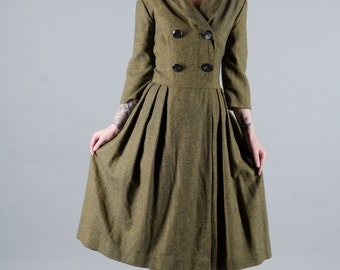 Vintage 1950's Woven Wool Wrap Dress