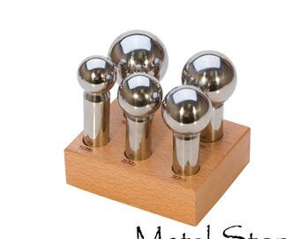 Dapping Punch Set 5 Large Dapping Punches with Wood Stand - Punch sizes are 28, 32, 35, 40 and 45 mm sizes