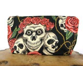 Zipper Pouch - Purse Insert - Small Pouch Bag - Zippered Pouch - Cosmetic Bag - Skull Bag - Make Up Bag - Travel Pouch - Skull Pouch