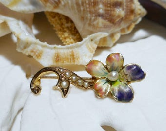 10k Antique 1890's Enamel and Seed Pearl Pansy Flower Pin Brooch 1.68g