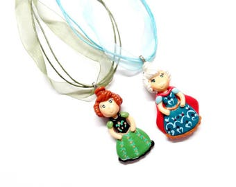 Princess Anna & Elsa Coronation Necklaces Set, Anna Necklace. Elsa Necklace, Cold Porcelain Clay Princess Pendant in Organza Ribbon Necklace