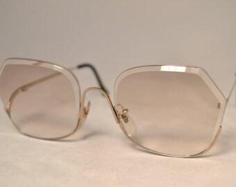 1970's Oversize Vintage Fashion Eyeglasses, Beveled  Rimless, New Old Stock, Oversight Gold
