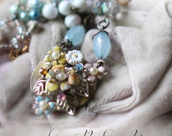Spring Bouquet ~ vintage assemblage necklace vintage enamel flowers one of a kind crowned by grace