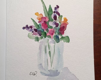 Vase of Blooms Watercolor Card / Hand Painted Watercolor Card