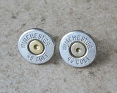 45 Colt Winchester Bullet Earring, Two Tone Nickel, Brass, Stud Earrings, Thin Cut, Surgical Steel Post - 458