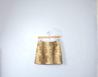 Vintage 90's beige and brown zebra print mini skirt, animal print short skirt, size 7 / 8