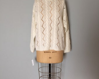 SALE...snow white cut out fishnet sweater   braided cable knit fisherman sweater