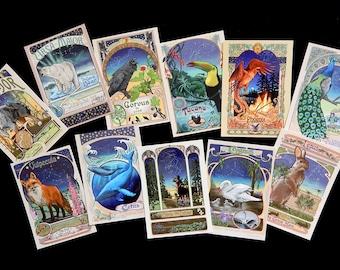 Frameable Set of 11 Postcards Art Nouveau Celestial Creatures Constellations