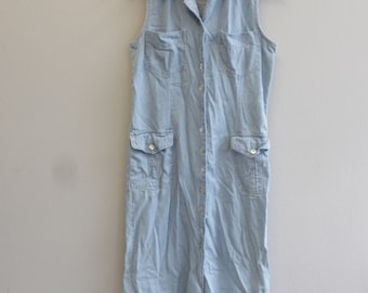 Vintage 90s Sleeveless Jean Dress Denim Button Down the side Dress By Rafaella Jeans