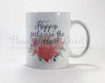 Happy Girls are the Prettiest ~ Audrey Hepburn ~ Coffee ~ Tea ~ Metallic Options ~ Valentine's Day