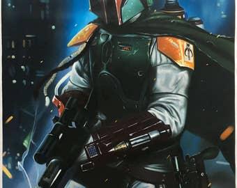 Star Wars Boba Fett Darth Vader oil painting on canvas, pop art, 24x36 inch, 100% money back guarantee