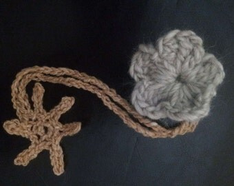 Bookmark, cute and fluffy flower with tail, crochet.