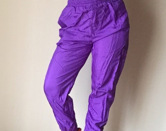 90s athletic jogging bright purple drawstring waist tapered leg workout vintage cotton lined pants bottoms unisex S M hipster club kid 1990s