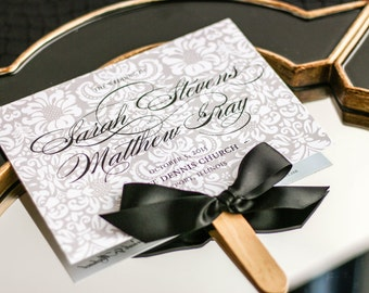 "Fan Wedding Ceremony Program, Damask Fan Program, Fan Programs, Black and White Wedding Stationery - ""Classic Romance"" Fan Program - DEPOSIT"