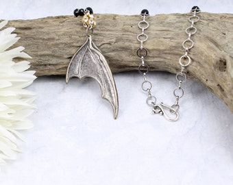 Antiqued Silver Bat Wing Pendant Necklace with Rhinestone - Gothic Halloween Vampire Pendant Necklace - Neo Victorian Bat Wing Necklace -V22