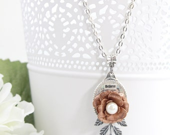 Copper Flower Jewelry Necklace – Everyday Rose Necklace Pendant – Bohemian Flower Fashion Necklace – Hawaiian Nature Jewelry Necklace - SF22