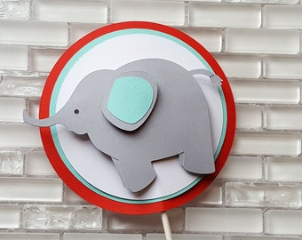 Elephant Cake Topper or Smash Cake Topper in Red and Aqua Blue for Birthday or Baby Shower. READY TO SHIP