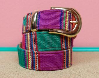 VTG Suede Guatemalan Print Belt - Size M