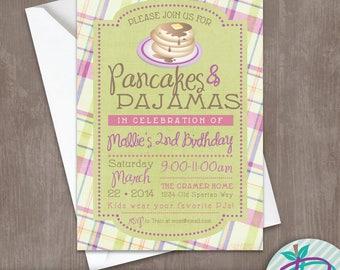 Pancakes & Pajamas Invitation, Pancakes and Pajamas Birthday Party Printable Invite
